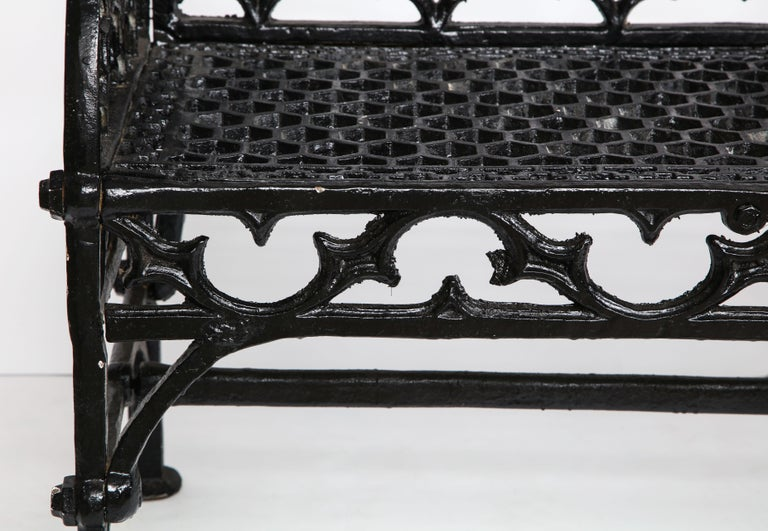 Pair of Black Gothic Style Cast Iron Benches 2