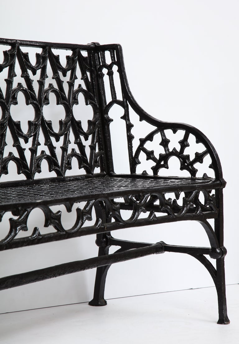 Pair of Black Gothic Style Cast Iron Benches 3