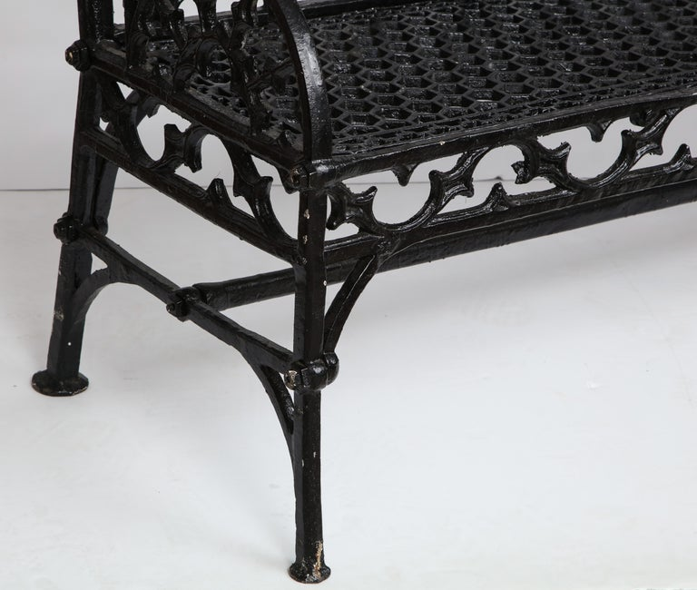 Pair of Black Gothic Style Cast Iron Benches 4