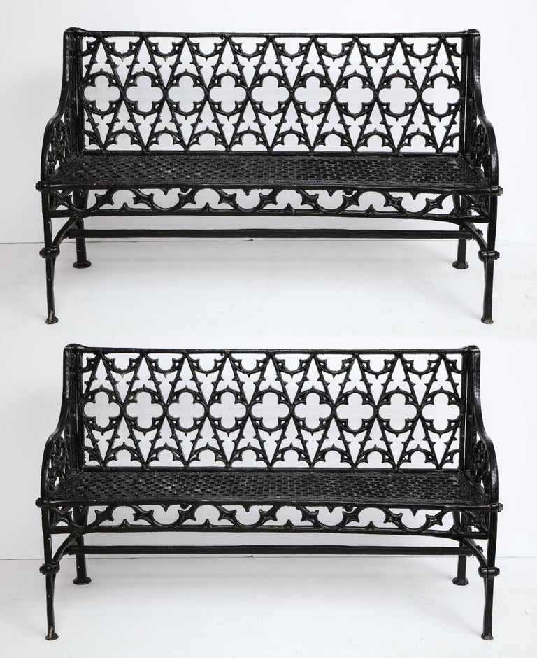 Pair of Black Gothic Style Cast Iron Benches 5
