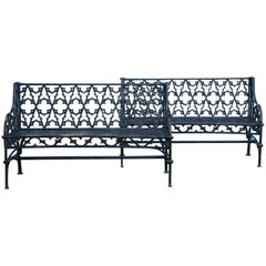 Pair of Black Gothic Style Cast Iron Benches