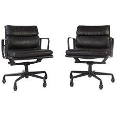 Pair of Black Herman Miller Original Eames EA435 'Soft Pad' Desk Aluminum Chair