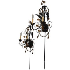 Pair of Black Iron and Tole Painted Two Light Sconces, American, circa 1950s