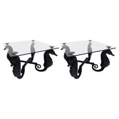 Pair of Black Iron Seahorse Side Tables with Smoked Glass Tops
