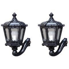 Pair of Black Iron Wall-Mounted Lantern Sconces, New York US, 1900