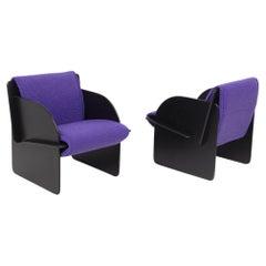 Pair of Black Italian Armchairs with Purple Bouclè