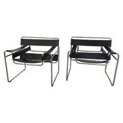 Pair of Black Italian Made Wassily Chairs by Marcel Breuer