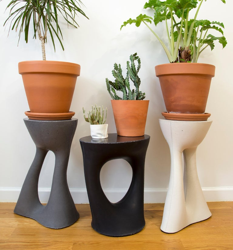 Cement Pair of Black Kreten Side Tables from Souda, Short, Made to Order For Sale
