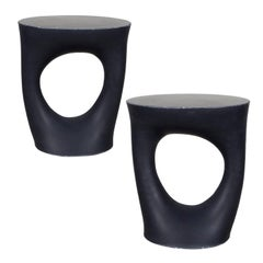 Pair of Black Kreten Side Tables from Souda, Short, Made to Order