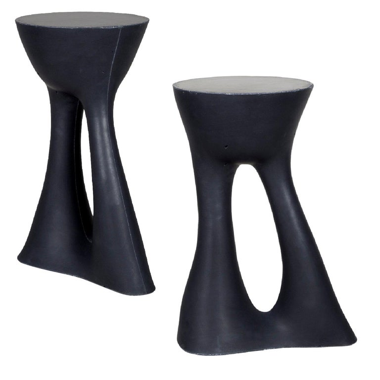 Pair of Black Kreten Side Tables from Souda, Tall, Made to Order For Sale