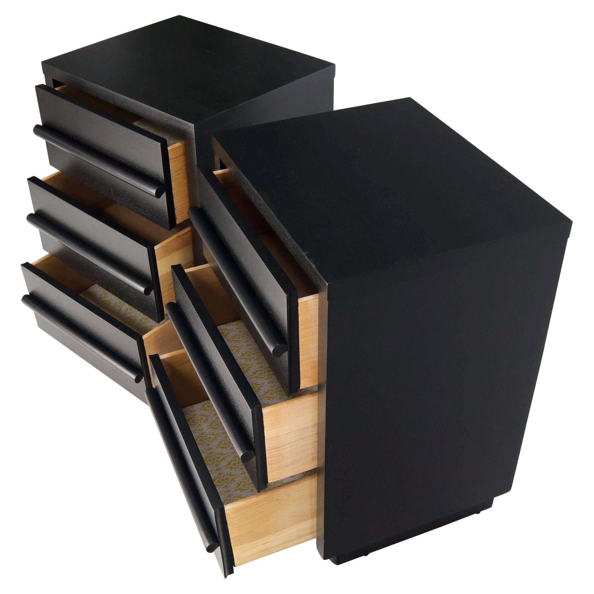 Pair of Black Lacquer 3 Drawer End Tables Nightstands Cabinets