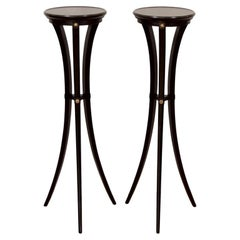 Pair of Black Lacquer and Gilt Pedestals