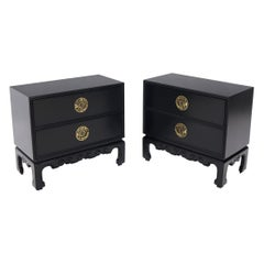 Pair of Black Lacquer Brass Hardware Two Doors Oriental End Tables or Nightstand