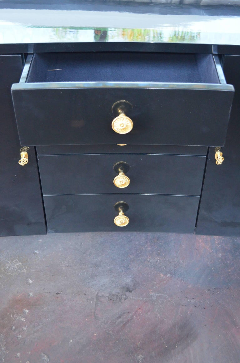 Hollywood Regency Pair of Black Lacquer Commodes by Kelly Wearstler For Sale