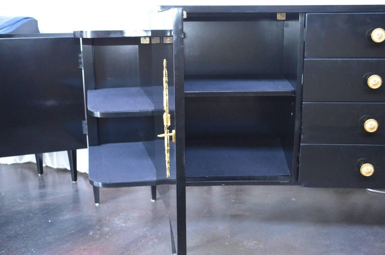 Gilt Pair of Black Lacquer Commodes by Kelly Wearstler For Sale