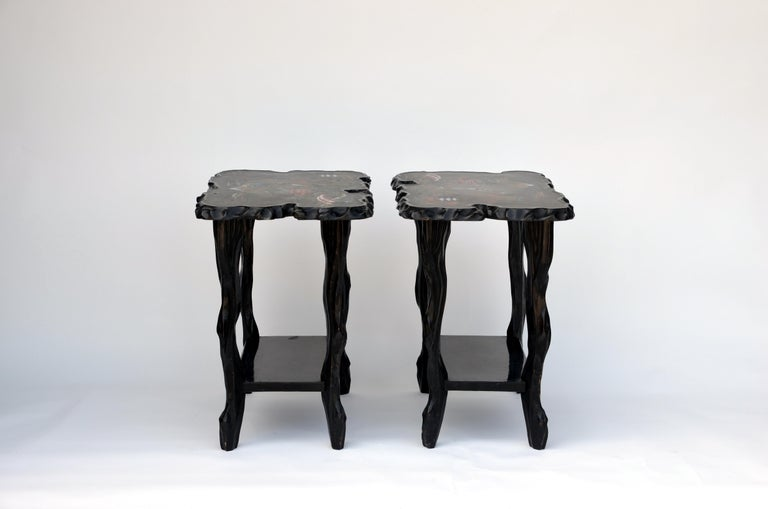 Pair of black lacquer ebonized and inlaid wood organic end tables. Also great as nightstands.
