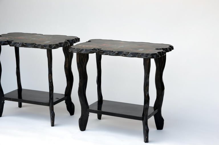 Japonisme Pair of Black Lacquer Ebonized and Inlaid Wood Organic End Tables For Sale