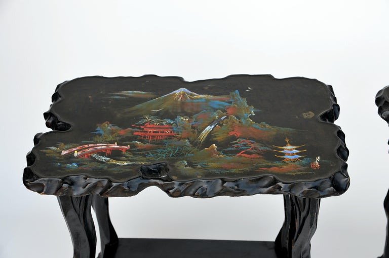 Japanese Pair of Black Lacquer Ebonized and Inlaid Wood Organic End Tables For Sale