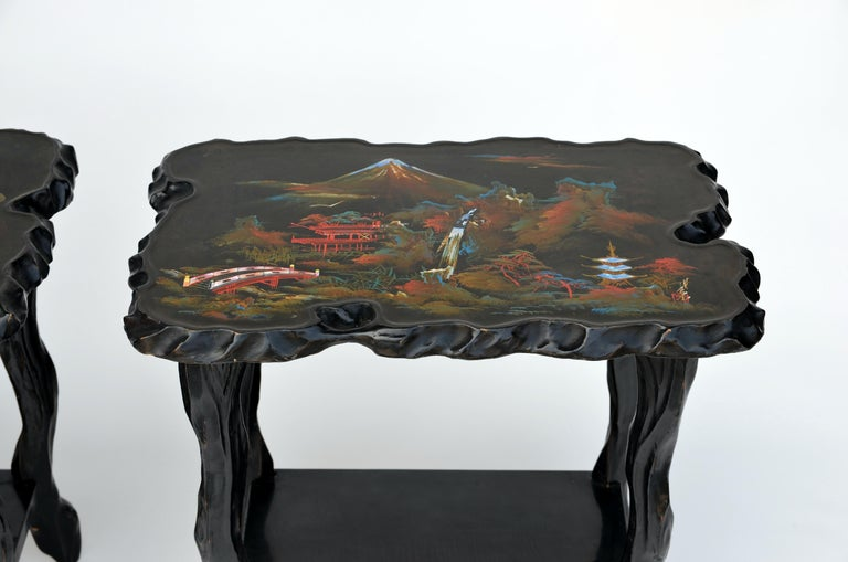 Inlay Pair of Black Lacquer Ebonized and Inlaid Wood Organic End Tables For Sale