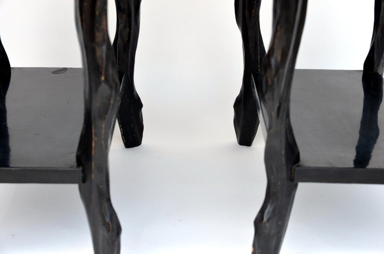 Pair of Black Lacquer Ebonized and Inlaid Wood Organic End Tables In Excellent Condition For Sale In Los Angeles, CA