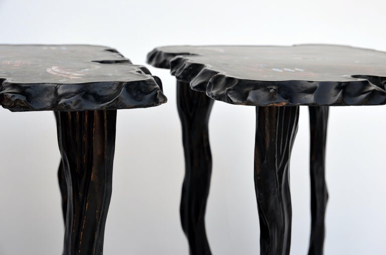 20th Century Pair of Black Lacquer Ebonized and Inlaid Wood Organic End Tables For Sale