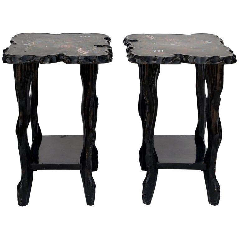 Pair of Black Lacquer Ebonized and Inlaid Wood Organic End Tables For Sale