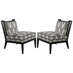 Pair of Black Lacquer Lounge Chairs