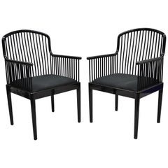 Pair of Black Lacquer Modern Andover Armchairs by Davis Allen for Stendig 'A'