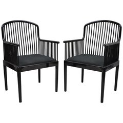Pair of Black Lacquer Modern Andover Armchairs by Davis Allen for Stendig 'B'