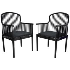 Pair of Black Lacquer Modern Andover Armchairs by Davis Allen for Stendig 'C'