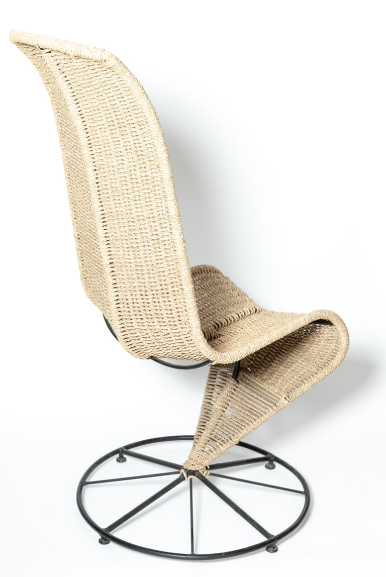 Italian Pair of Black Lacquered and Beige Wicker Rope