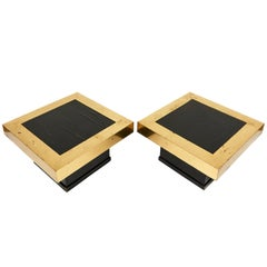 Pair of Black Lacquered and Brass Square Coffee Tables