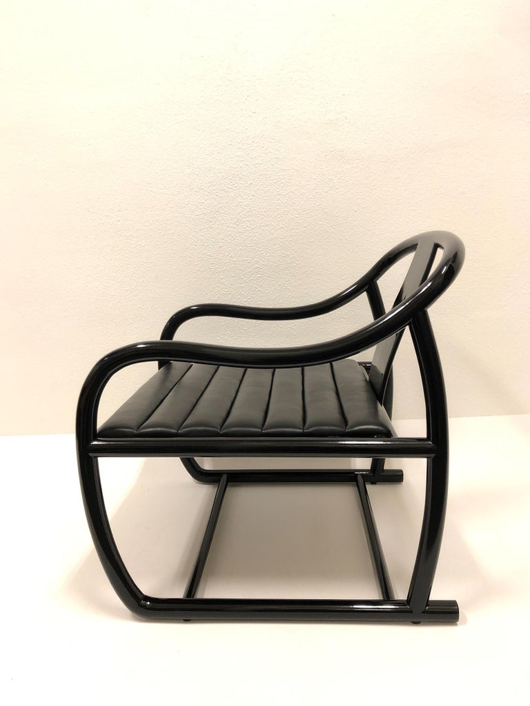 Pair of Black Lacquered and Leather Lounge Chairs by Stanley J Friedman For Sale 4