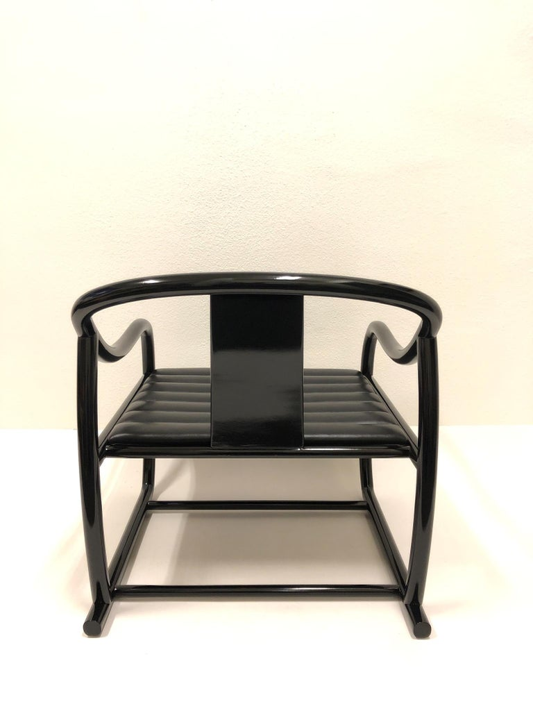 Pair of Black Lacquered and Leather Lounge Chairs by Stanley J Friedman For Sale 5