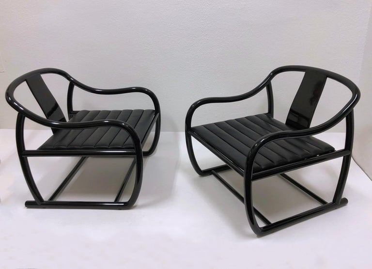 Pair of Black Lacquered and Leather Lounge Chairs by Stanley J Friedman For Sale 6