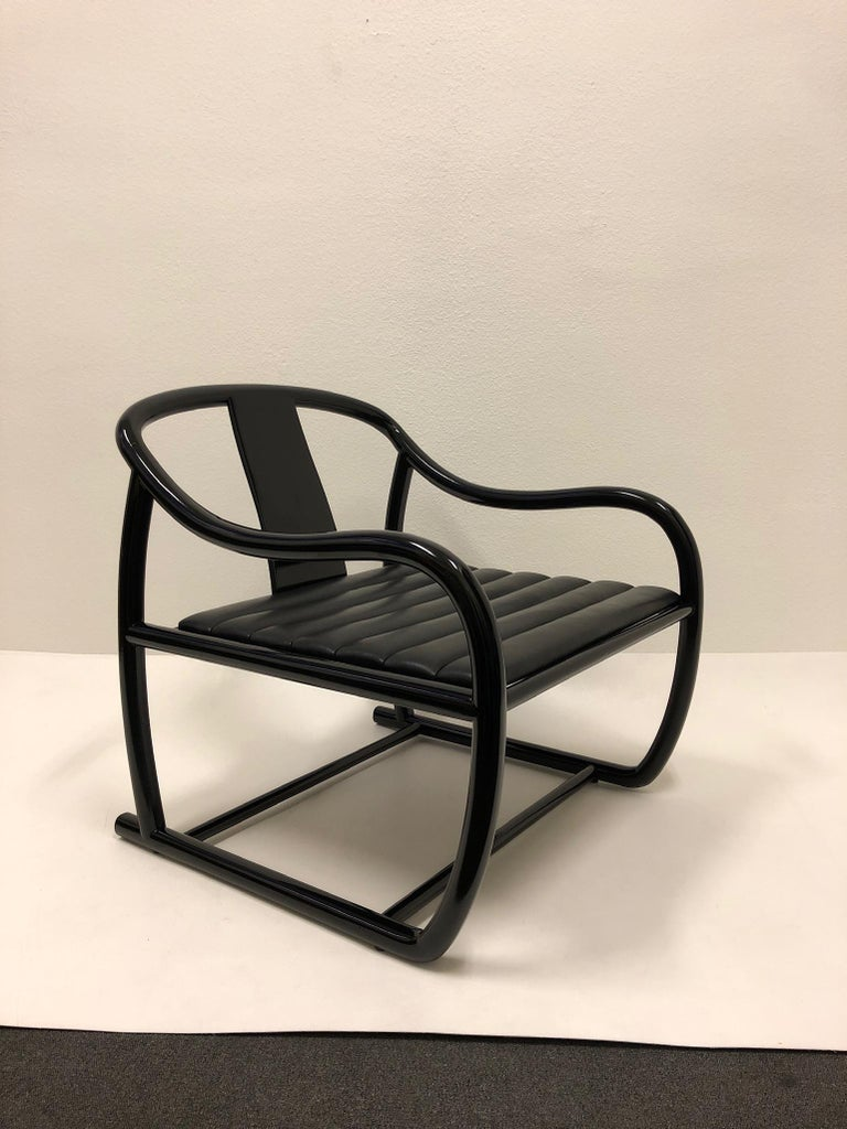 Modern Pair of Black Lacquered and Leather Lounge Chairs by Stanley J Friedman For Sale