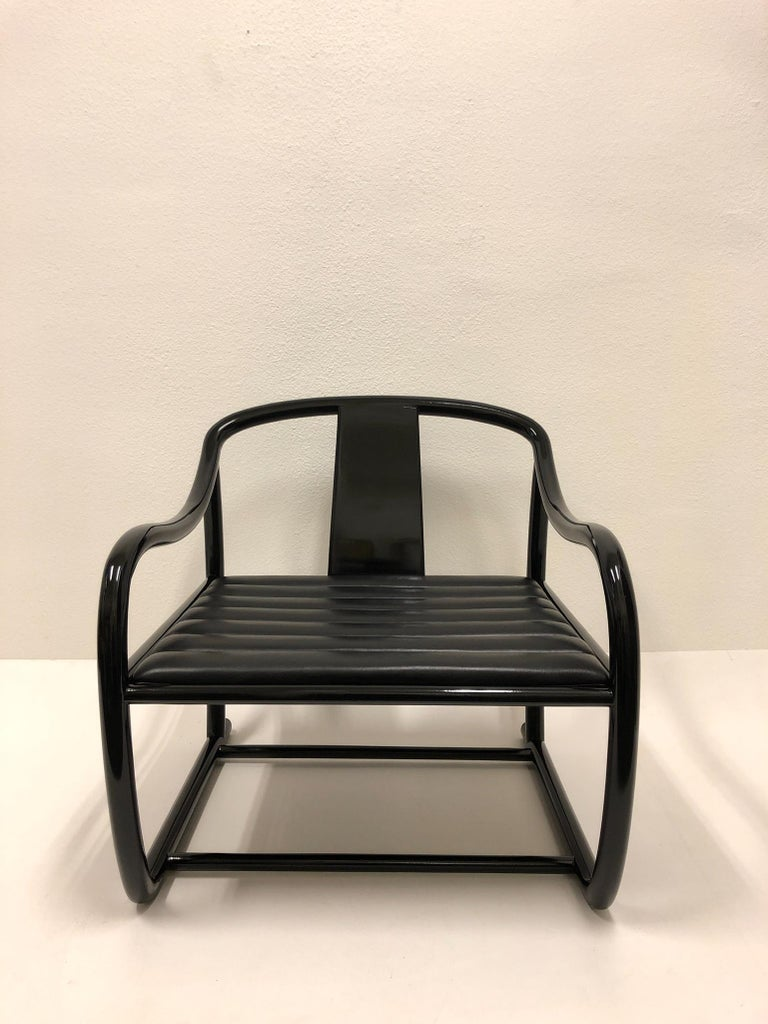Pair of Black Lacquered and Leather Lounge Chairs by Stanley J Friedman In Good Condition For Sale In Palm Springs, CA