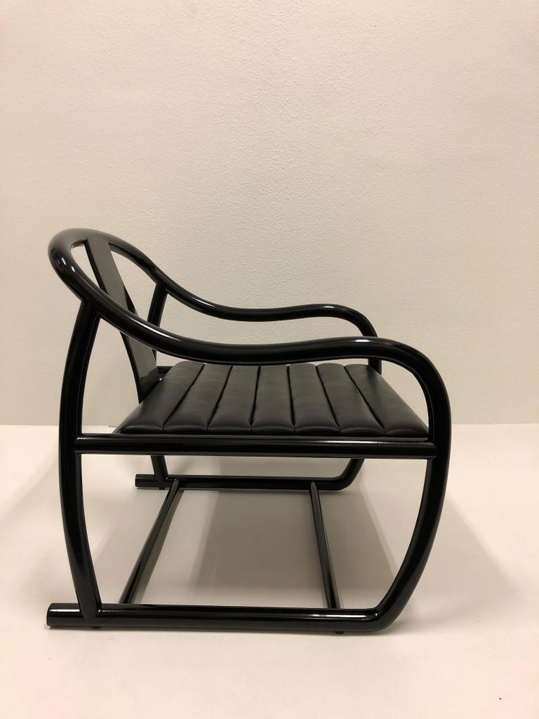 Late 20th Century Pair of Black Lacquered and Leather Lounge Chairs by Stanley J Friedman For Sale