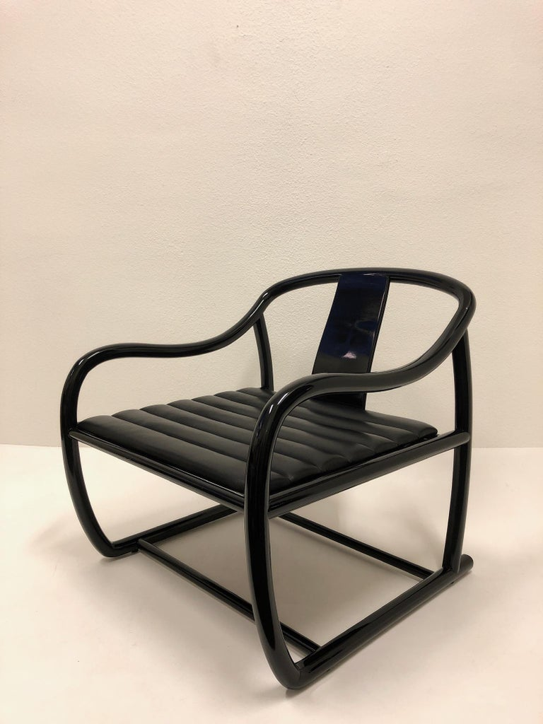 Pair of Black Lacquered and Leather Lounge Chairs by Stanley J Friedman For Sale 1