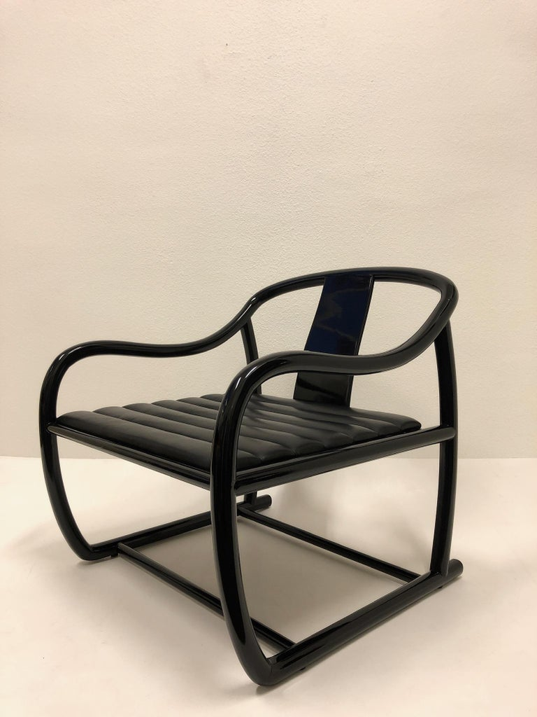 Pair of Black Lacquered and Leather Lounge Chairs by Stanley J Friedman For Sale 3