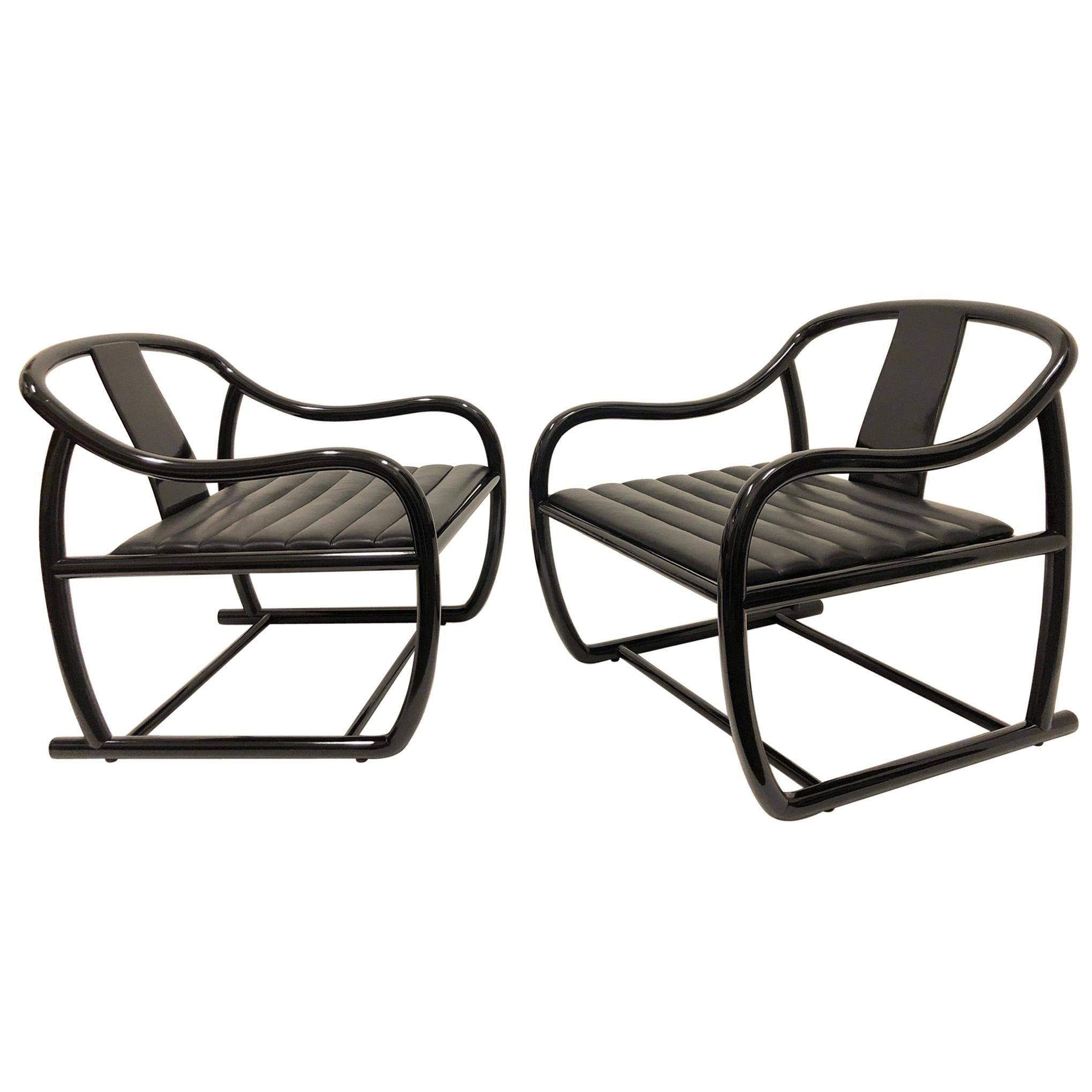 Pair of Black Lacquered and Leather Lounge Chairs by Stanley J Friedman