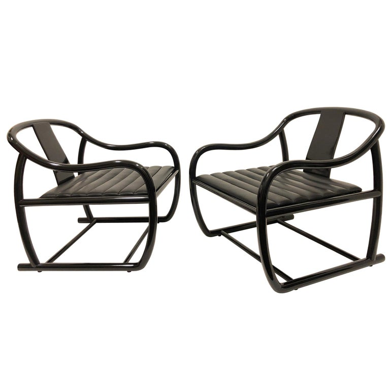 Pair of Black Lacquered and Leather Lounge Chairs by Stanley J Friedman For Sale