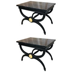 Pair of Black Lacquered and Portore Marble-Top Neoclassical End or Sofa Tables