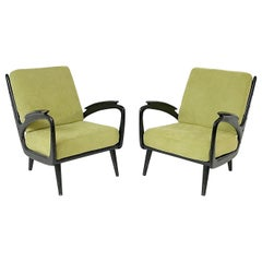 Pair of Black Lacquered Armchairs, New Upholstery