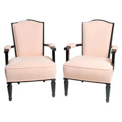 Pair of Black Lacquered Art Deco Armchairs by Jules Leleu
