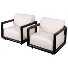 """Pair of Black Lacquered """"Bamboo"""" Lounge Chairs"""