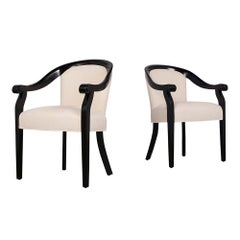 Pair of Black Lacquered Hickory Modern Barrel Back Chairs