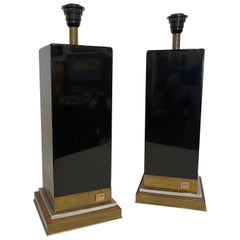 Pair of Black lacquered Table Lamps Attributed to Roche Bobois, Circa 1984