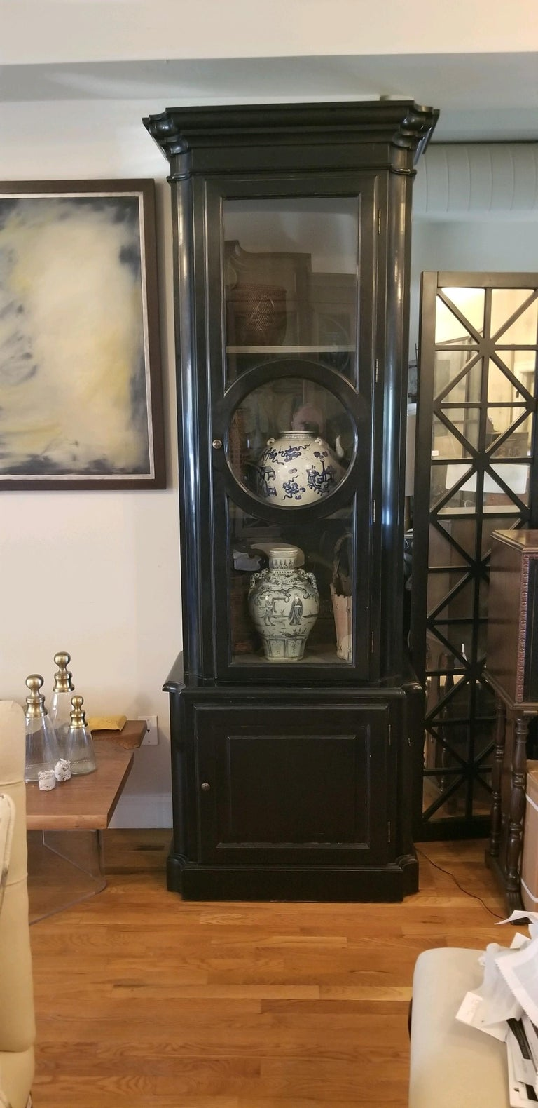 Pair of Black Lacquered Tall-Case Cabinets For Sale 12
