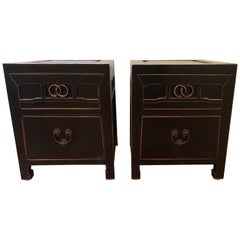 Pair of Black Lacquered Two-Drawer End Tables or Nightstands Asian Inspired